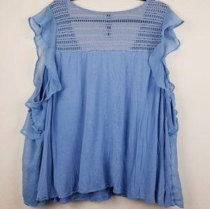 Jessica Simpson Tops - Jessica Simpson blue layered ruffled blouse